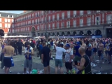 Leicester fans fight police in Madrid. Flares, bottles.