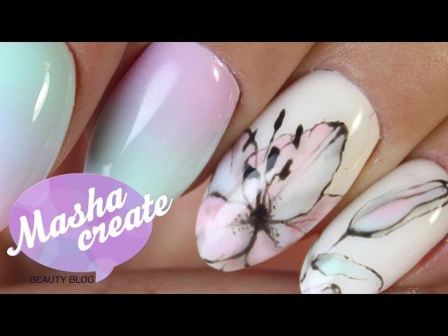 Маникюр лилии. Дизайн ногтей Цветы гель лаком. Лилия на ногтях гель лаком/Рисунк ...