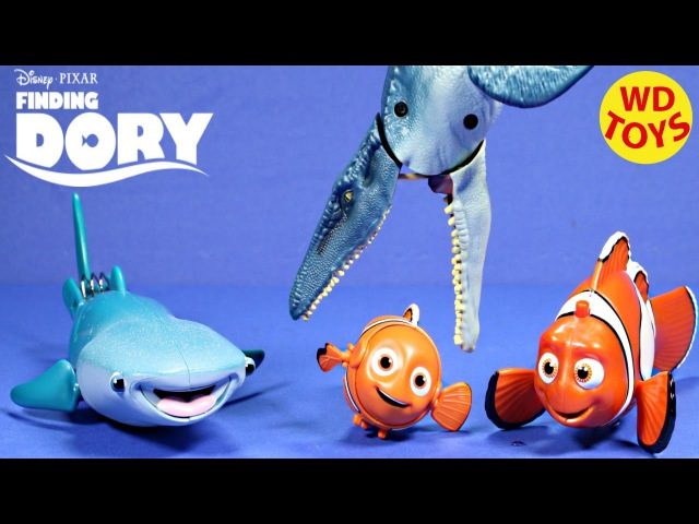 New Finding Dory Disney Pixar Swimming Destiny Marlin Vs Mosasaurus Unboxing WD Toys
