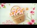 Подарок на 8 марта магнит корзина с цветами канзаши своими руками