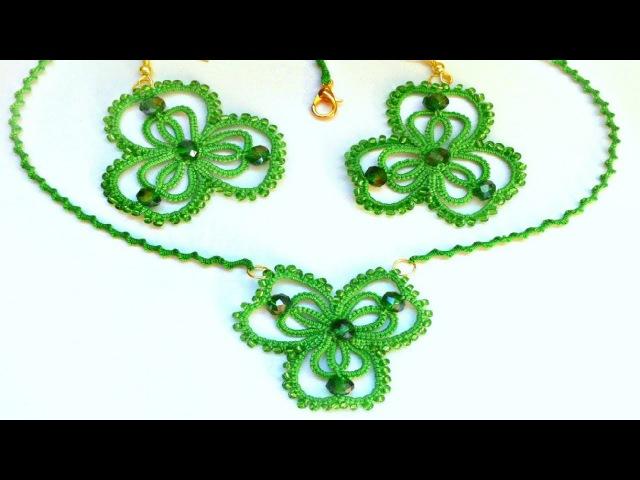 Серьги кулон Лист клевера фриволите иглой анкарс DIY Earrings pendant Leaf clover frivolite needle