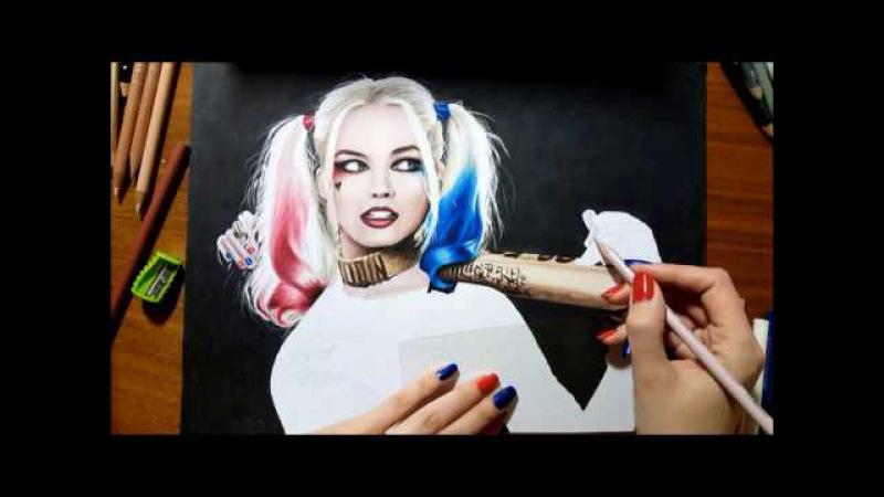 Speed Drawing: Margot Robbie as Harley Quinn   Jasmina Susak Desenho Arlequina drawing