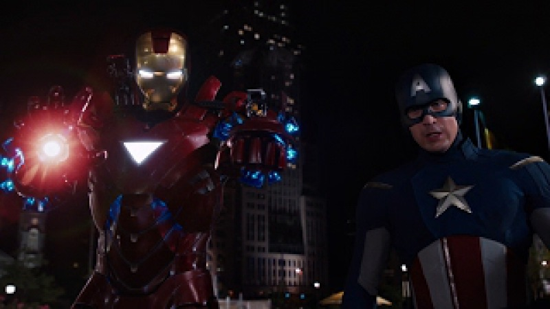 Капитан Америка и Железный человек против Локи. Твой ход, Северный Олень. Мстители 2012.