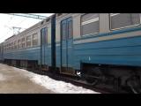 Электропоезд эр2р-7044 сообщением 6445 Харьков(Л)-Красный Лиман отправляется со станции Изюм