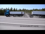 Сравнение тормозного пути на грузовиках с разными грузами