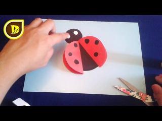 Божья коровка. Аппликация из цветной бумаги Поделки для детей. how to make a paper lady bug