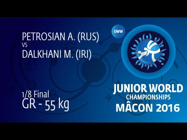 1/8 GR - 55 kg: M. DALKHANI (IRI) df. A. PETROSIAN (RUS), 2-1