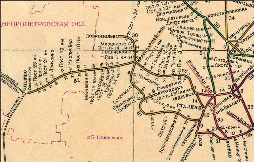 Схема ж.д. в 1955 году