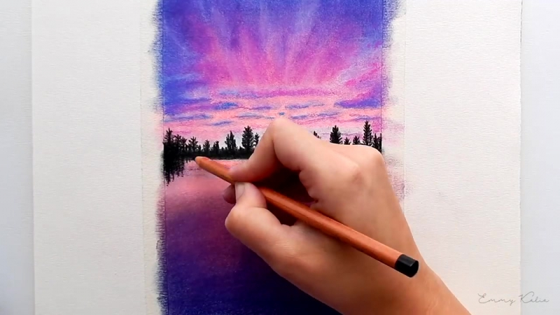 Timelapse - Drawing a Purple Sunset with Faber-Castell soft Pastels and Pitt pencils - Emmy Kalia