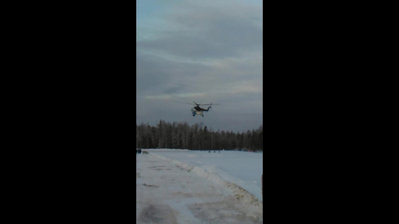 Посадка вертолета на НПС-2