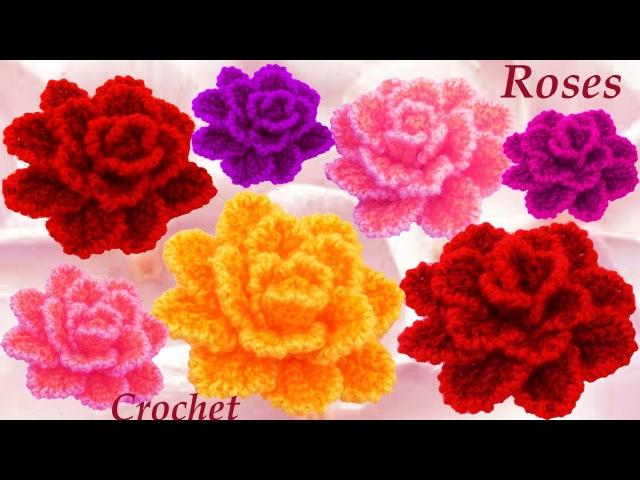 Como Tejer flor rosa casi natural tejido a Crochet
