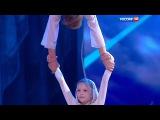 Russian children do acrobatics on a rope.Ekaterina Fedorova,8 yo and Danil Kazarin,14 yo