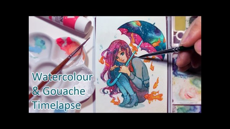 Galaxy Umbrella Watercolor Gouache Painting Timelapse [How to draw galaxy stars]