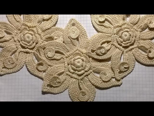 Большой цветок Ирландское кружево Вязание крючком