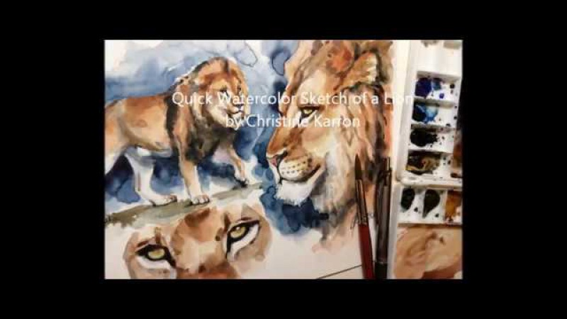 Watercolor sketch painting Lion study by Ch.Karron