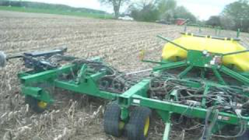 2009 Spring John Deere 8110 and 1890 CCS drilling soybeans into corn stalks