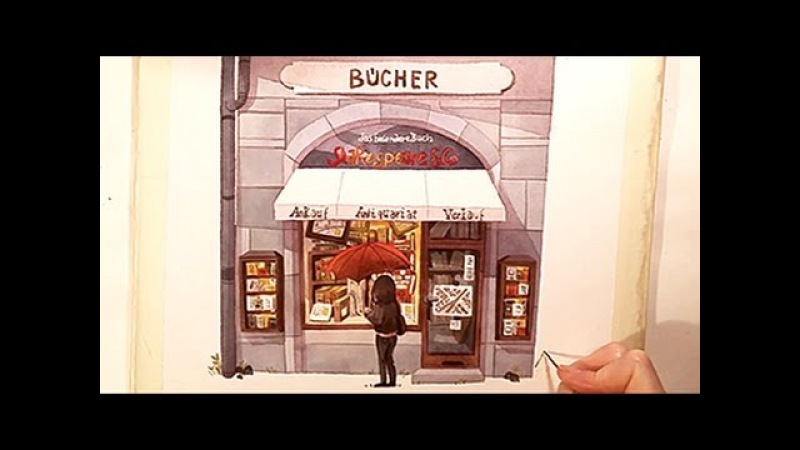 Watercolor Illustration Bookstore with colored pencils speed painting by Iraville