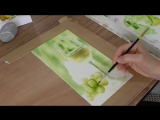 Painting a Wine Glass and Grapes in Watercolor Step 2 of 2 _ I do not paint the leaf sorry! Alison Fennell