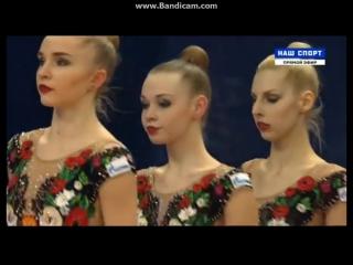 Сборная России в групповых упражнениях - 3 мяча 2 скакалки Гран-при Москва 2017