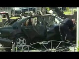 Видео с места взрыва автомобиля в Соломенском районе Киева