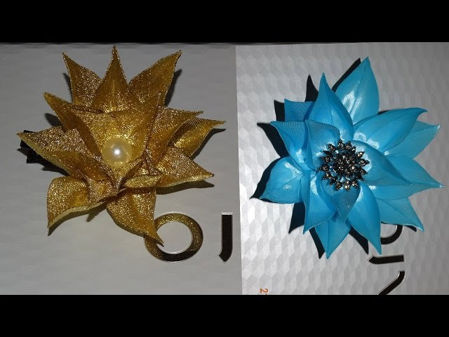 Корона на Новый Год/New Petal kanzashi /Цветочная Корона/Crown Lotus/golden Lotus
