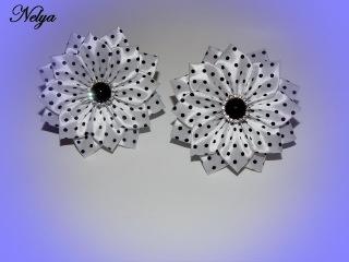 МК Легкие резиночки белые в горошек Канзаши/Light clip white polka dot