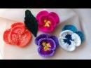 PENSAMIENTOS Y HOJA EN CROCHET PANSIES 4 formas de combinar los colores 1 de 2