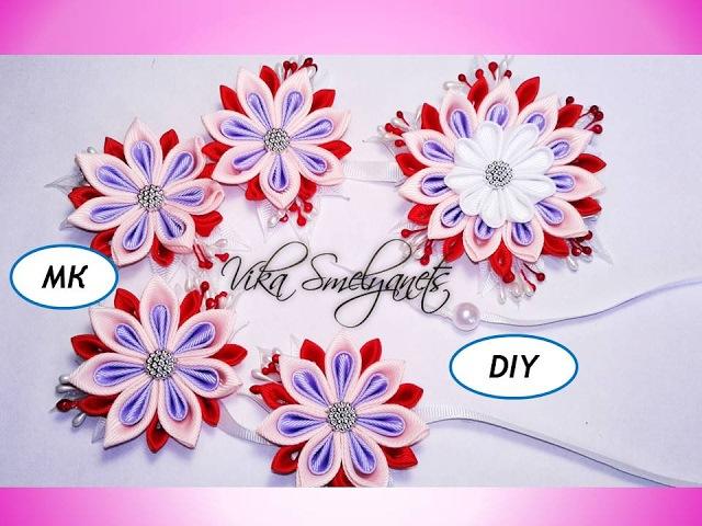 Лента в косу Весна/Мк канзаши/острый лепесток/diy/flowers kanzashi