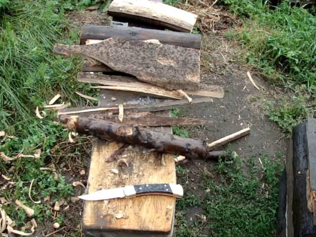 Складной нож Buck 110 тест по дереву и сравнение с Ontario Rat1