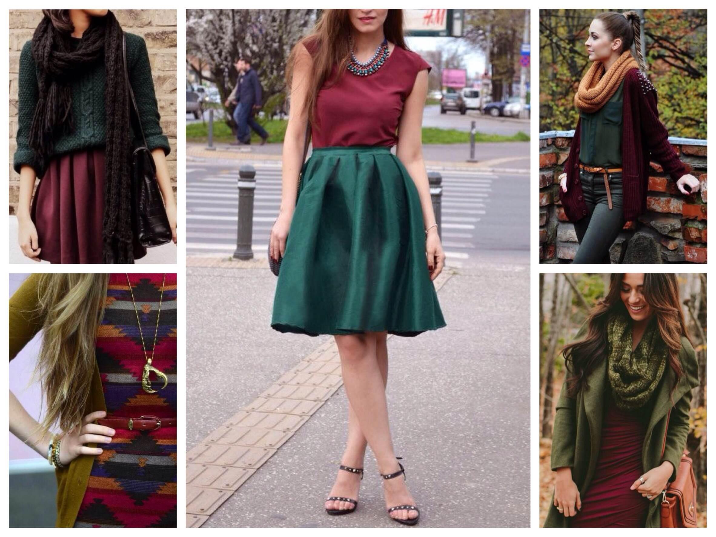 Варианты сочетания одежды цвета марсала и зеленого