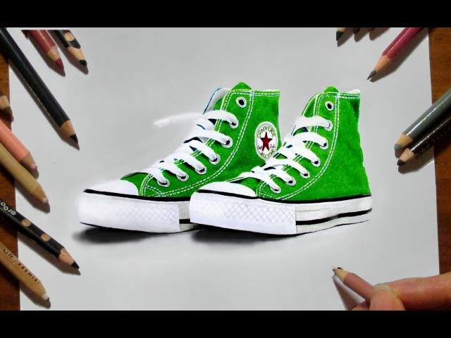 Green Sneakers Converse Colored Pencil Drawing - Speed Draw   Jasmina Susak