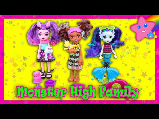 ОБЗОР кукол Monster High Family Sister Dolls Fangelica Pawla Wolf Ebbie Blue