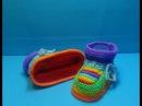 Вязание спицами пинетки-радуга #120