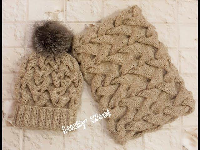 Теплый,зимний комплект: шапка и снуд с узором из кос. Часть 1. Шапка с двойной рези...
