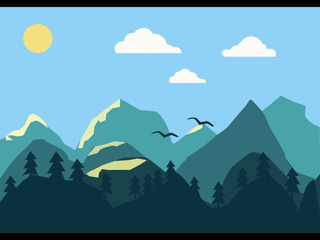 Пейзаж в стиле flat - Speed Painting (Illustrator CC) | Иван Сартаков