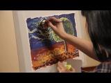 Уроки рисования. Пейзаж флуоресцентными красками (28.10.2016)