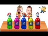 Learning Colors Kids Disney Princess Pepsi Bottles Wet elsa ariel Finger Family Nursery Rhymes