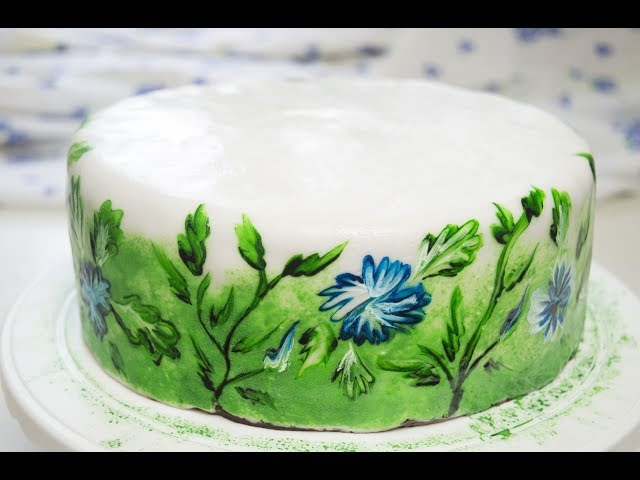 Сметанный торт Мишка Роспись по мастике
