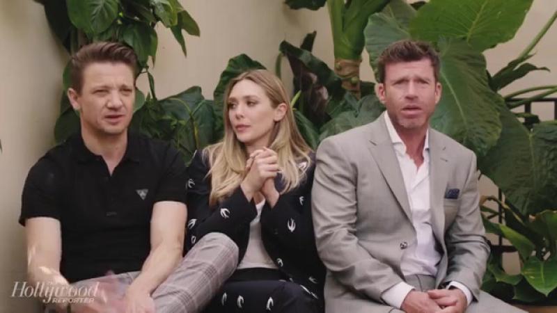Elizabeth Olsen, Jeremy Renner Taylor Sheridan on Wind Rivers Standing Ovati