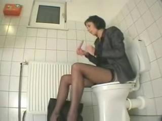 My cousin visiting us masturbates in toilet. Hidden cam