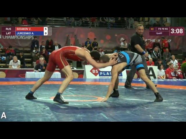 70кг Qualification Zaurbek SIDAKOV RUS vs Alberts JURCENKO LAT