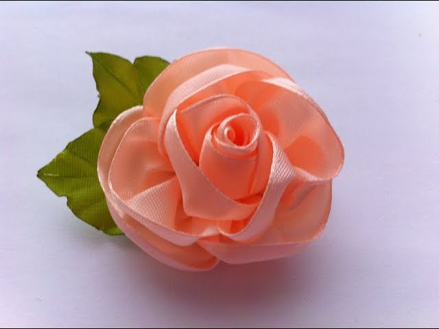 Цветок из ленты 5 см своими руками мастер класс