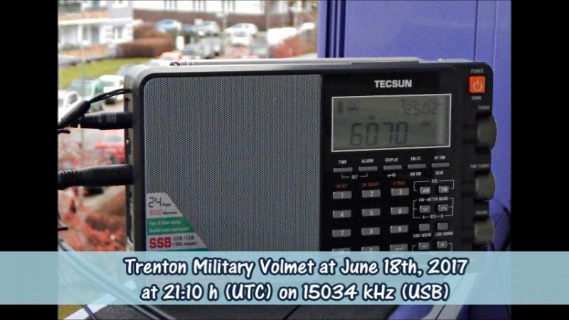 Trenton Military Volmet am 18.06.2017 um 21.10 Uhr (UTC) auf 15034 KHz (USB)