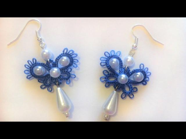 Серьги бабочки фриволите иглой Видео урок для начинающих. Анкарс Earrings butterfly frivolit...