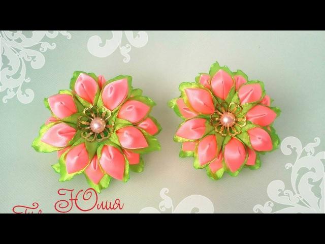 Весенний цветок канзаши мастер класс Kanzashi DIY Tutorial