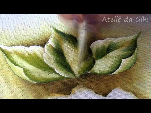 Folhas dobradas-pintura em tecido-folhas-(leaves)-(hojas pintura de la tela)