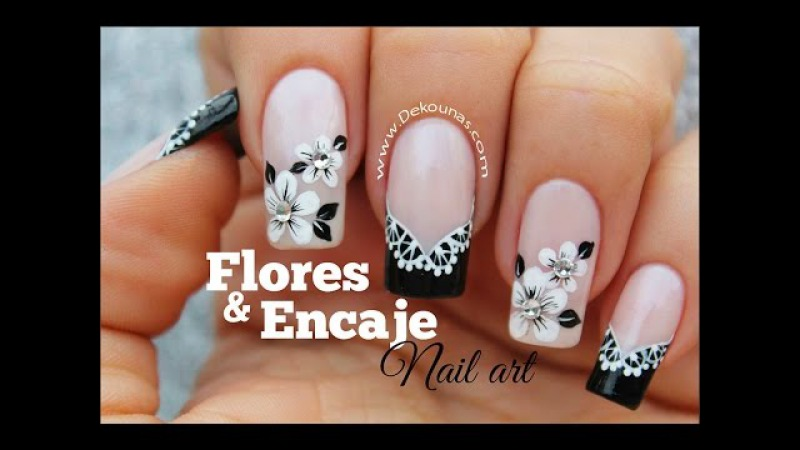 Decoracion de uñas FACIL flores y encaje - Lace and flowers easy nail art