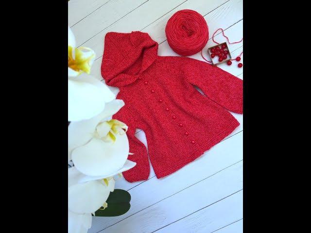 Как связать детский кардиган регланом сверху часть 1 How to knitt a children's cardigan