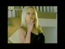 Sexy Blonde Girl Smoking Without Hands in Black Silk Dress