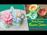 Fresh Cream Icing Flowers Series - How To Make Easy Frosting Flowers - Cake Decorating Tutorial